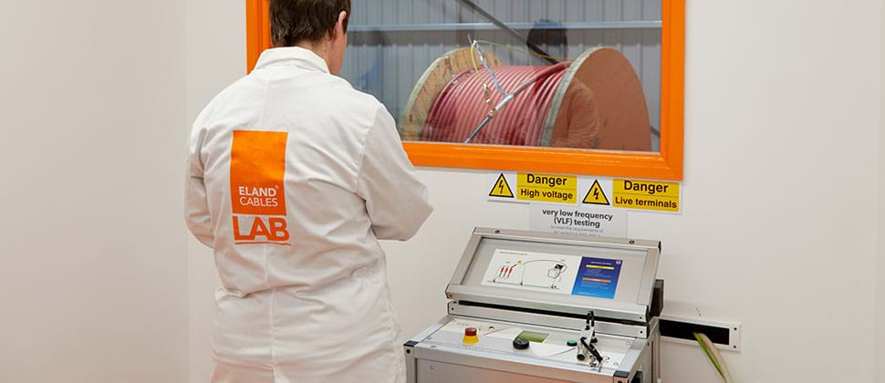 VLF testing in Eland Cables' MV test facility