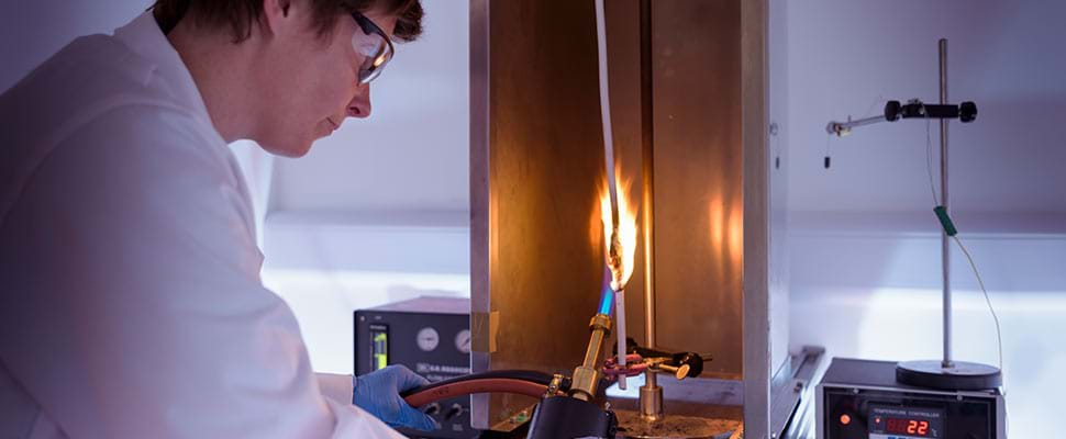 Vertical Flame Testing performed in The Cable Lab